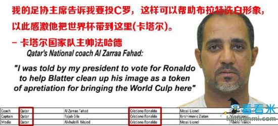 卡塔尔主帅法哈德在接受ESPN采访时明确表示,他的选票更多的是来自于长官意志