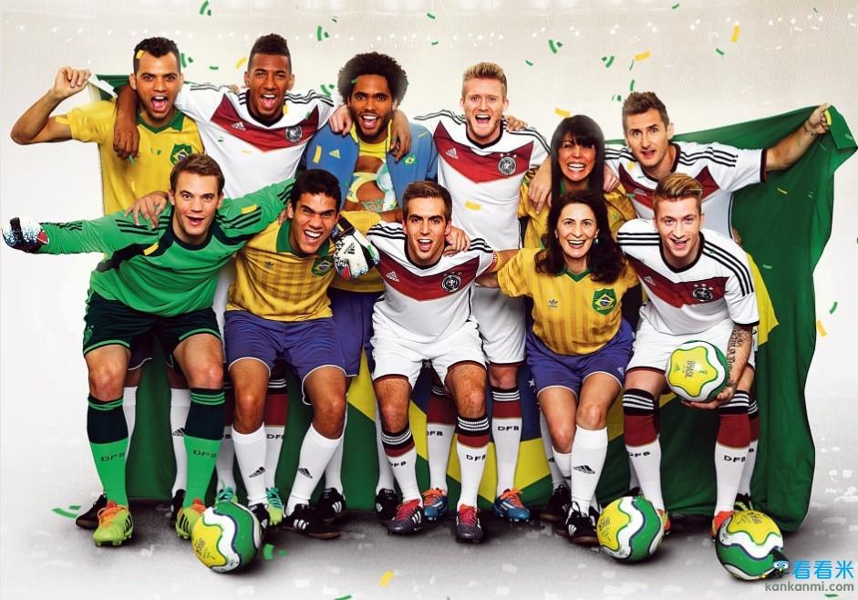 德国助威2014世界杯 众国脚巨星携巴西球迷拍摄海报