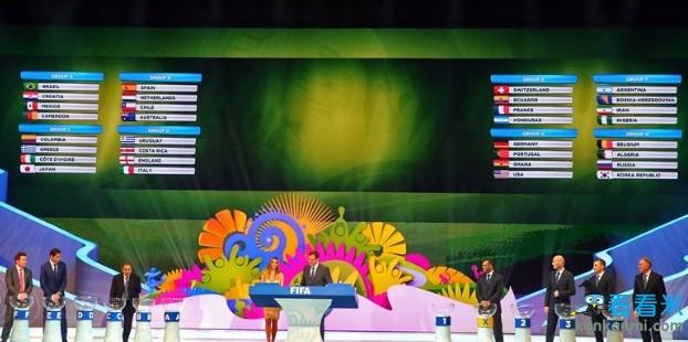 2014年世界杯分组抽签:巴西上上签西荷同组英意PK