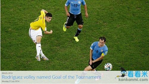 FIFA官方公布世界杯最佳进球 J罗凌空抽射夺魁