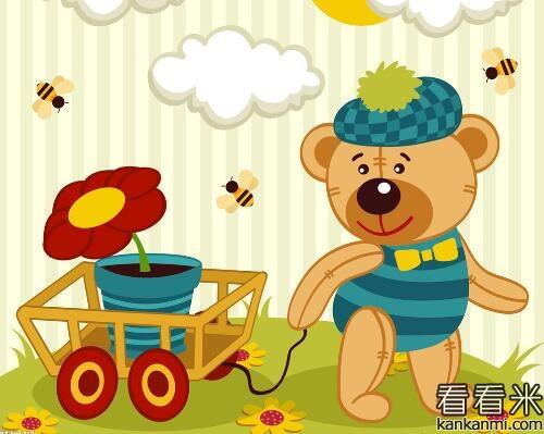 小熊捉鱼简笔画