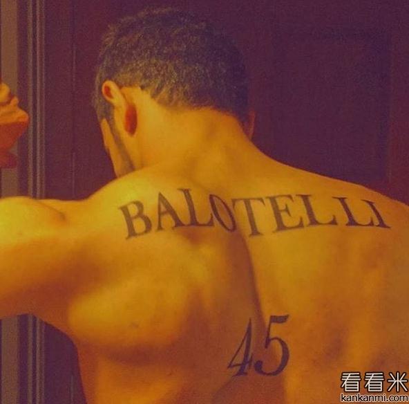 巴洛特利晒疯狂粉丝纹身