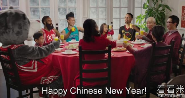哈登、林书豪和库里参演庆祝中国新年的广告