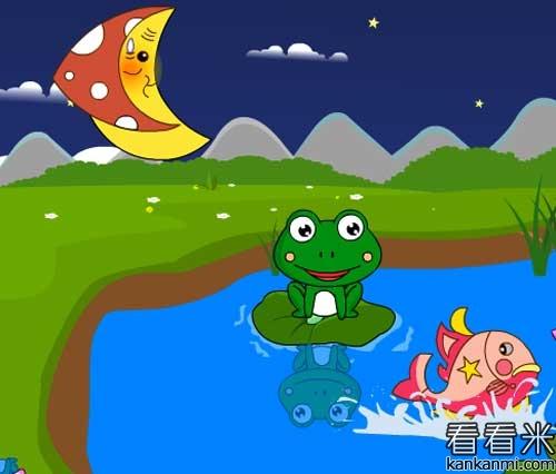 月亮 青蛙  矢量图