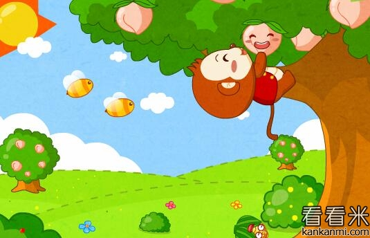 卡通桃树图片简笔画