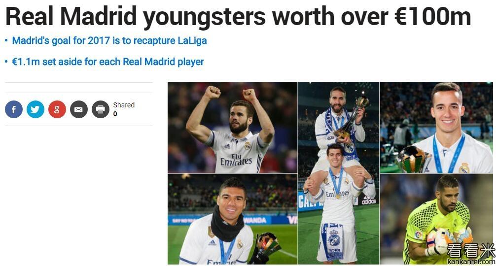 马卡报:皇马一线队青年球员们能值1亿欧元