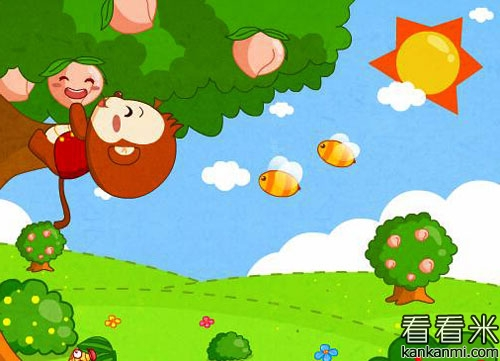 小猴子摘桃子的故事