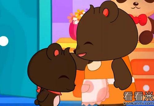 小熊看到妈妈干家务很辛苦,就给妈妈帮忙.