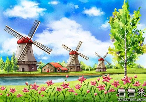 风车与小溪的故事